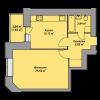 Мініатюра об'єкта 1-кім. квартира, 3 поверх